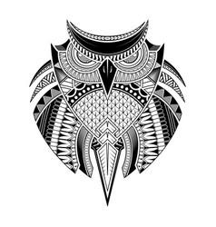 hand drawn owl tattoo vector image