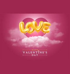 Happy valentines day greeting card with golden vector