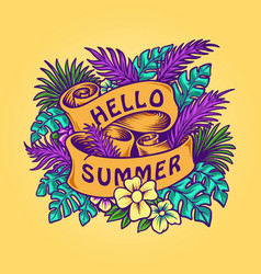 hello summer tropical leaves banner with ribbons vector image