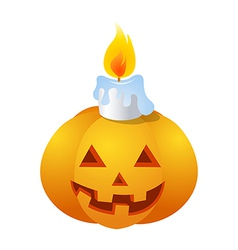 icon pumkin and candle on Halloween vector image
