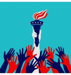 Independence hands up vector image