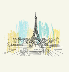 landscape view eiffel tower vector image