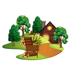log cabin with many trees vector image