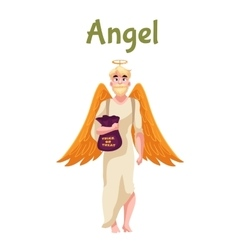 Man dressed in angel costume for Halloween vector image