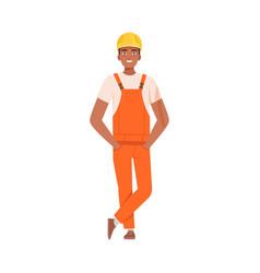 man in an orange jumpsuit and helmet vector image