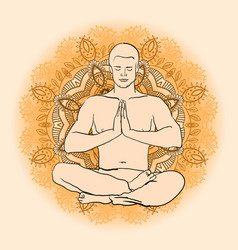 man sitting in the lotus position doing yoga vector image