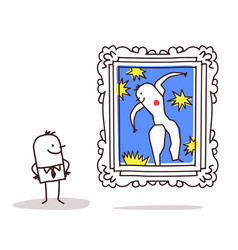 Man watching a famous painting vector