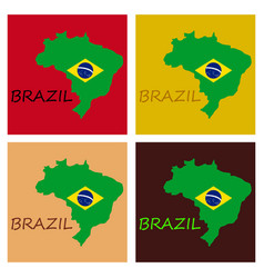 Map of brasil icon flat of icon for web on yellow vector