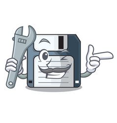 Mechanic floppy disk in the writing wallet vector
