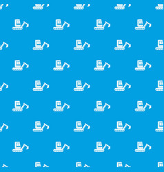 Mini excavator pattern seamless blue vector