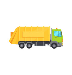 Modern huge garbage truck with long yellow trunk vector