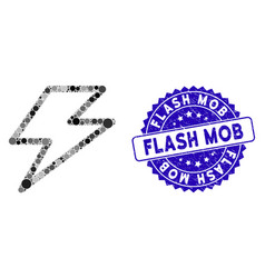 Mosaic flash icon with distress flash mob stamp vector