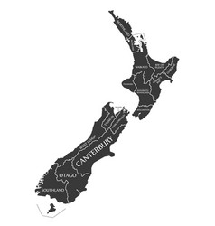 new zealand map labelled black vector image
