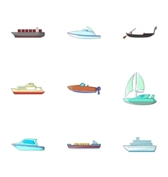 Ocean transport icons set cartoon style vector image
