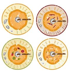 Paleo pizza concept vintage grunge labels set vector