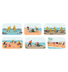 people with garbage on beach active vector image