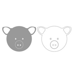 pig head grey set icon vector image