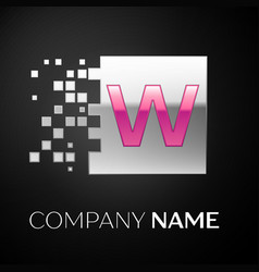 pink letter w logo symtor template for your design vector image