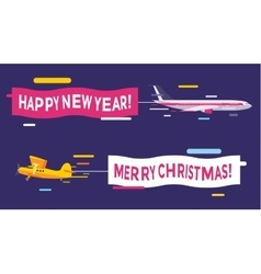 Plane flying with Merry Christmas banners vector image