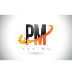 Pm p l letter logo with fire flames design and vector