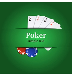 Poker background with playing cards and chips vector