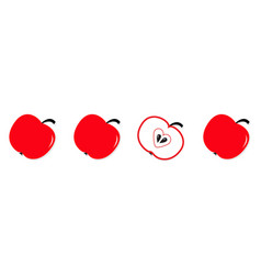 red apple set in a row line whole and half vector image