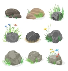 Rocks and stones with grass flowers and butterfly vector