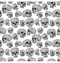 Seamless skulls white vector