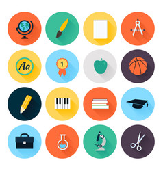 Set colorful flat school and education icons vector