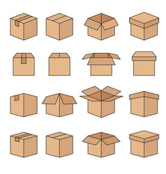 set of abstract box line icons vector image