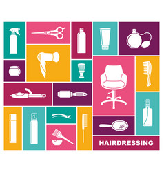 set of hairdressing accessories in flat style vector image