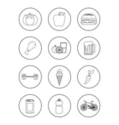 Set of healthy and unhealthy habits icons vector