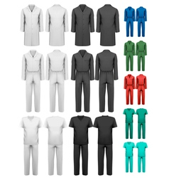 Set of overalls with worker and medical clothes vector