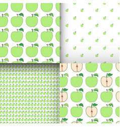 Set of seamless patterns with cartoon green apples vector