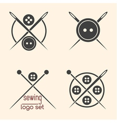 Set of sewing logotypes on beige background vector