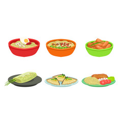 set ready meals on plates vector image