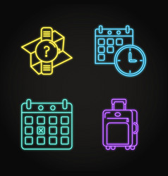 Set travel schedule concept neon icons vector