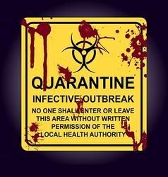 Sign infected area quarantine zone vector