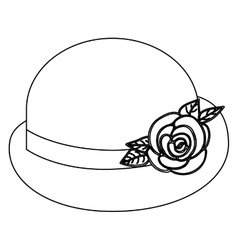 Silhouette lace bowler hat roses retro design vector
