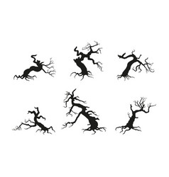 Silhouette of the old broken tree vector