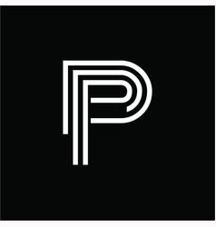 simple p dp pd ppp initials line art company logo vector image