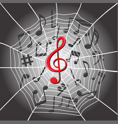 spider web with treble clef music notes vector image