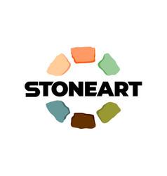 Stones logo creative color art around text vector