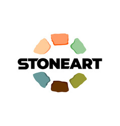 stones logo creative color art stones around text vector image