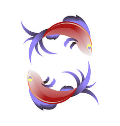 stylized sea fish icon vector image