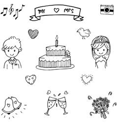 Sweet wedding doodle art vector