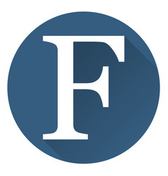 the letter f in a flat on a round blue background vector image