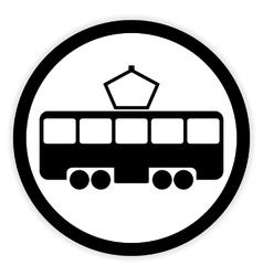 Tram button on white vector