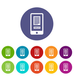 Translate application on a smartphone set icons vector