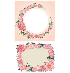 two designs of border with pink roses vector image